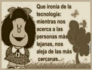 (Significado de la ironía. Ejemplo de Mafalda.)